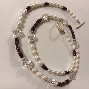Jewelry - Pearl, Garnet, Swarovski Crystals, & SS  Necklace